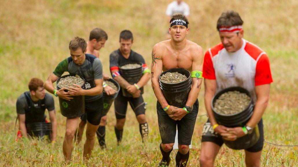 bucket brigade, marching, bucket carry, Spartan Race