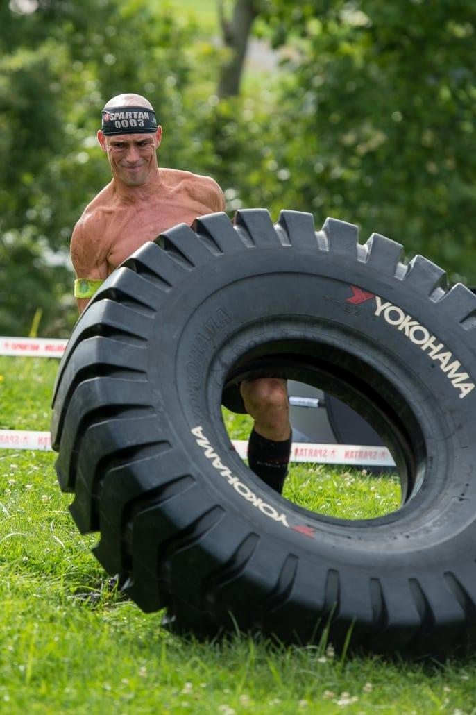 Robert Killian flipping tire.