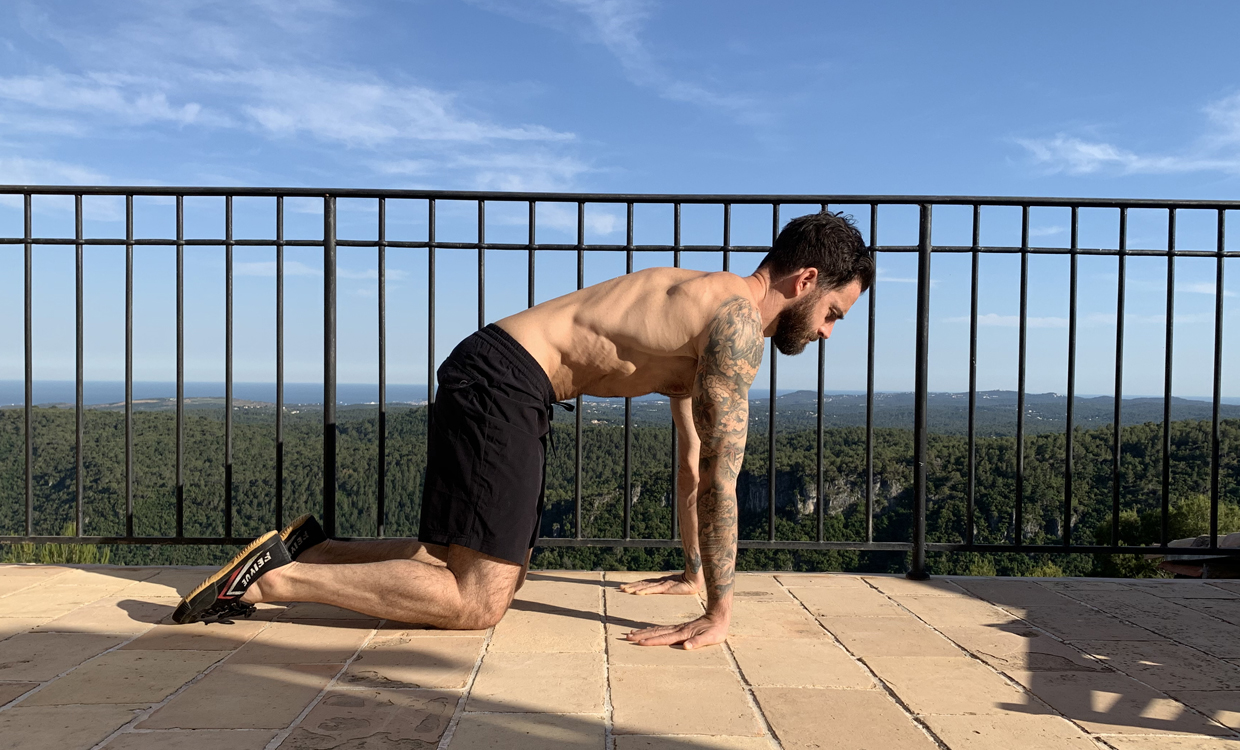 yoga for recovery training wrists, bicepts and chest stretch