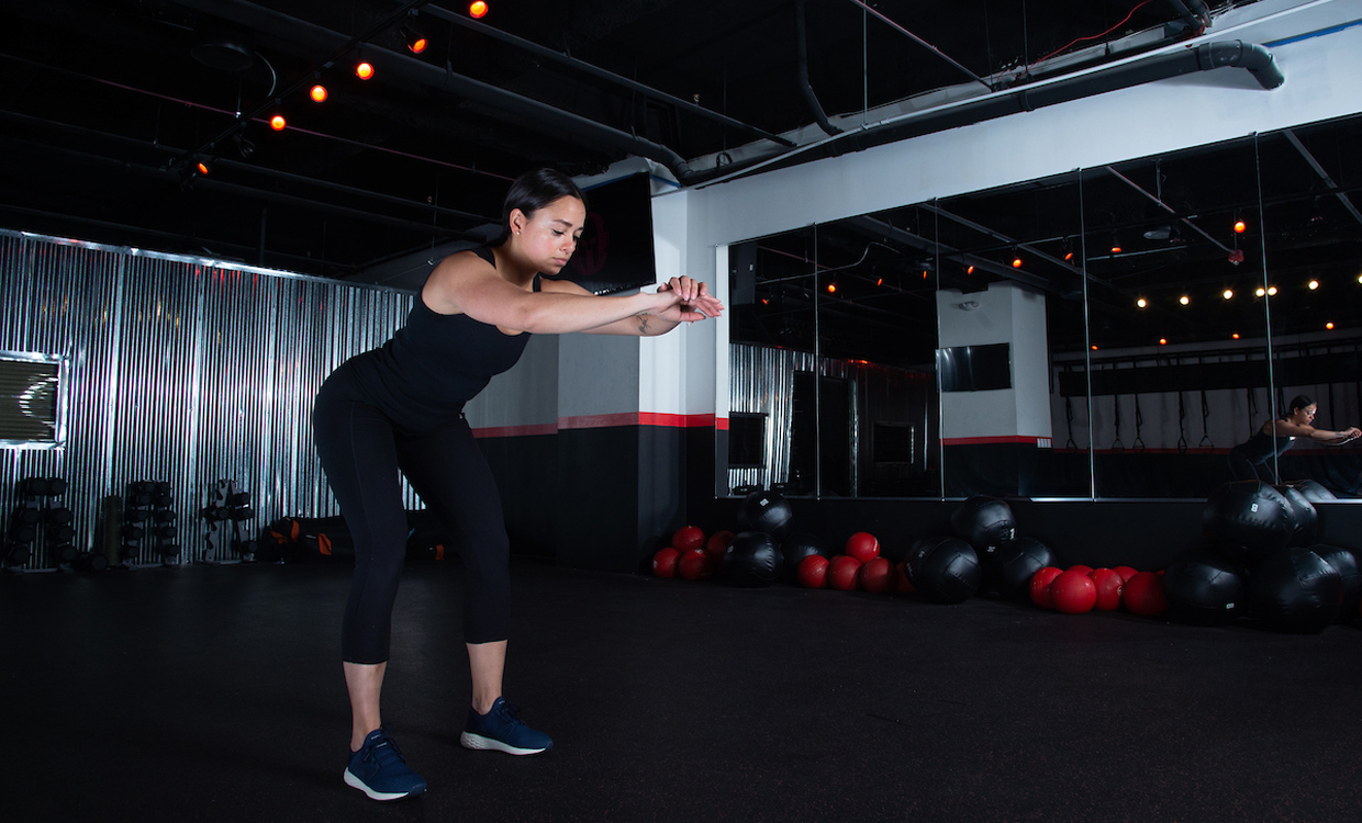 Hinge with reach upper body and core workout