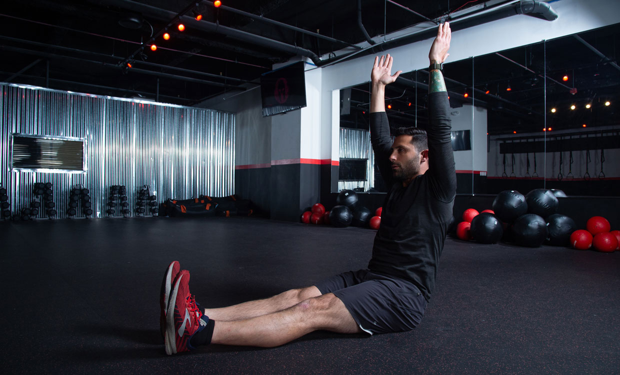 cardio and upper body workout straight leg sit up