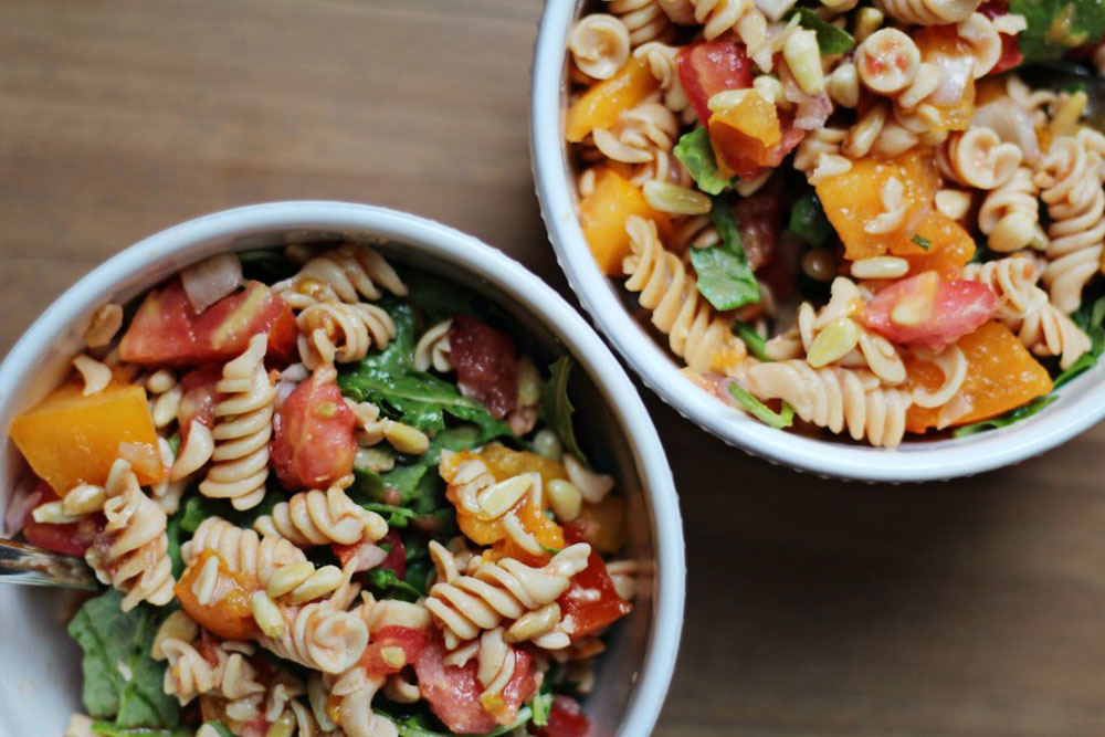 easy plant-based meals arugula lentil pasta salad