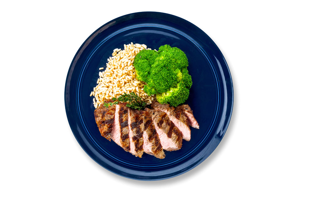 steak with brown rice