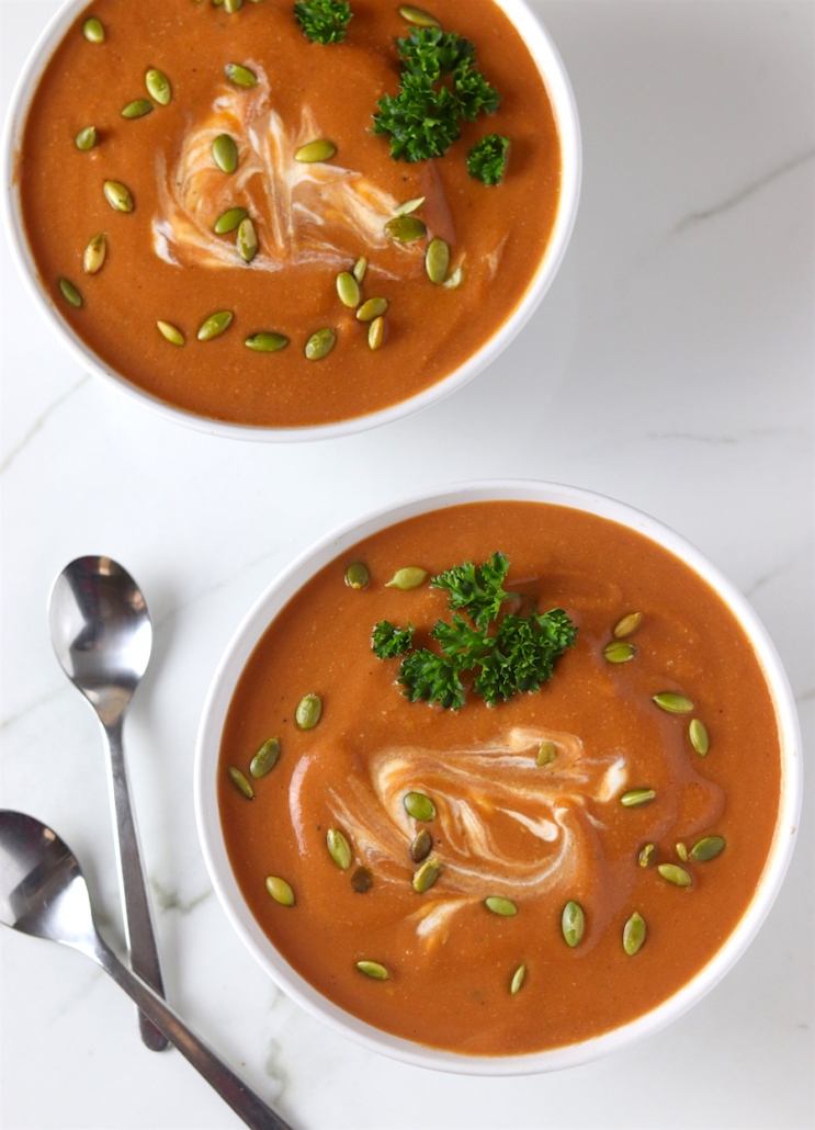 creamy butternut squash and tomato soup high-protein soup ideas