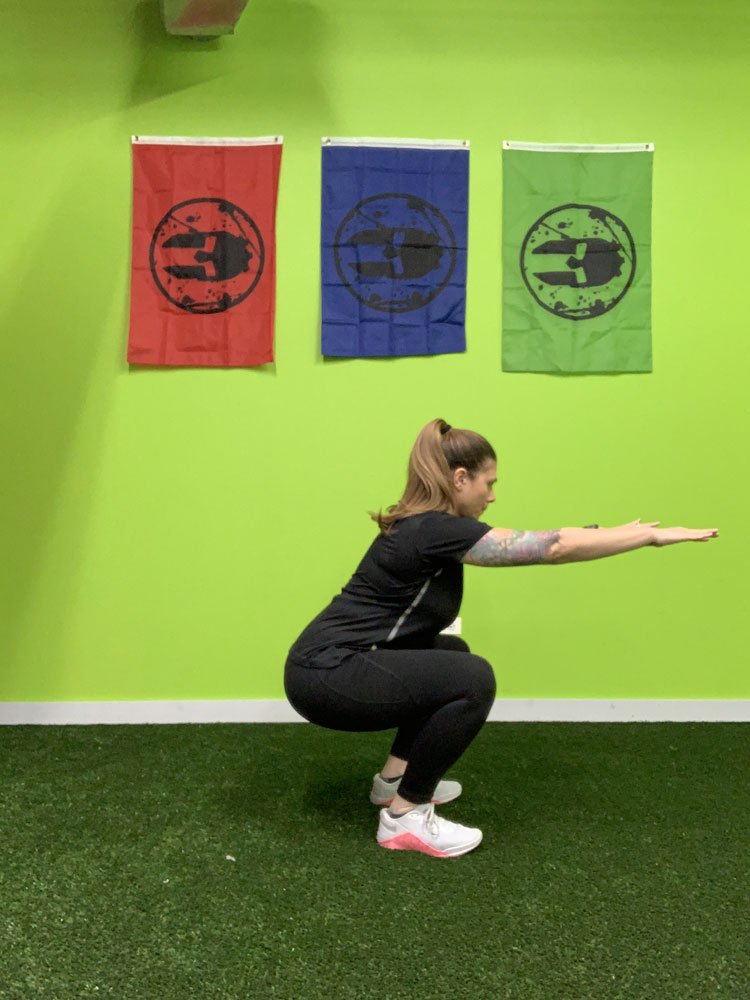 bodyweight squat arms out