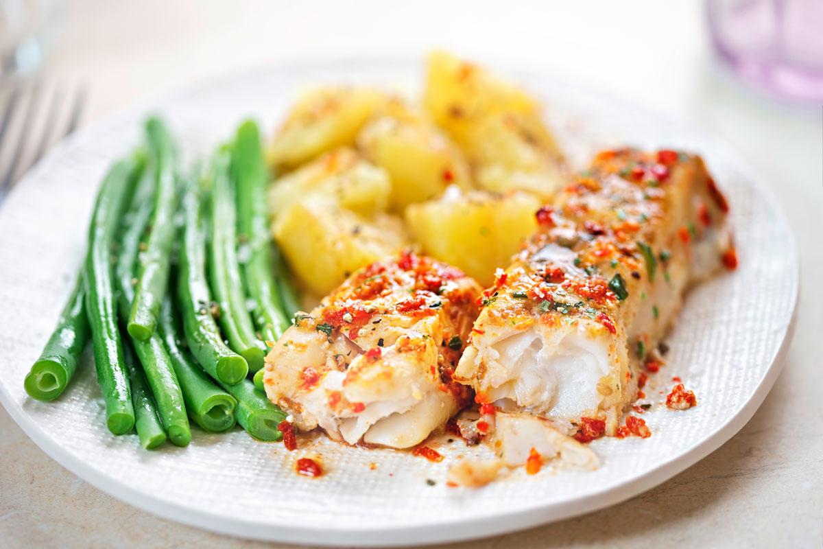 baked white fish marinara